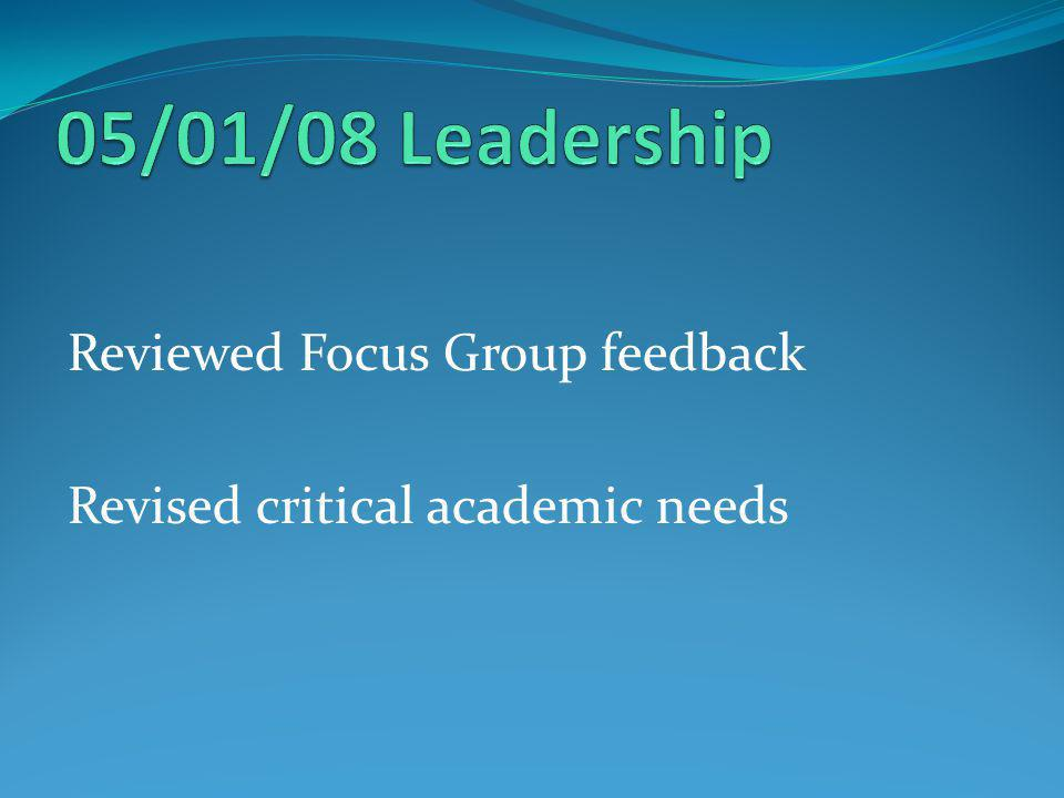 Reviewed Focus Group feedback Revised critical academic needs