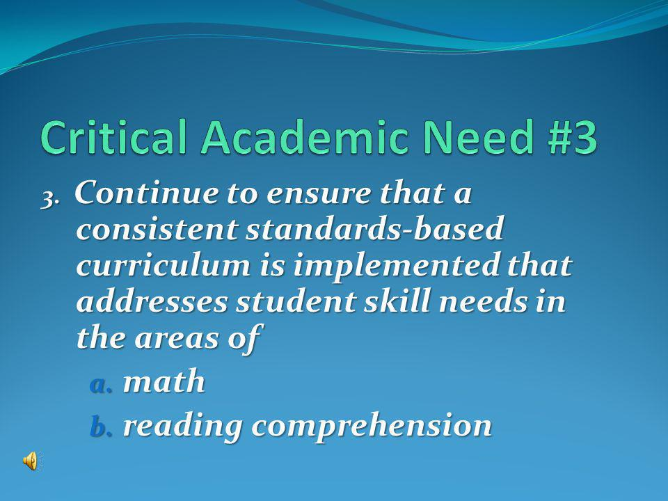 3. Continue to ensure that a consistent standards-based curriculum is implemented that addresses student skill needs in the areas of a. math b. readin
