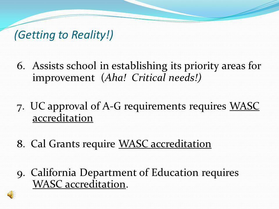 (Getting to Reality!) 6. Assists school in establishing its priority areas for improvement (Aha.