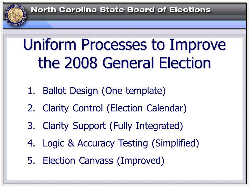 1. Ballot Design (One template) 2. Clarity Control (Election Calendar) 3.