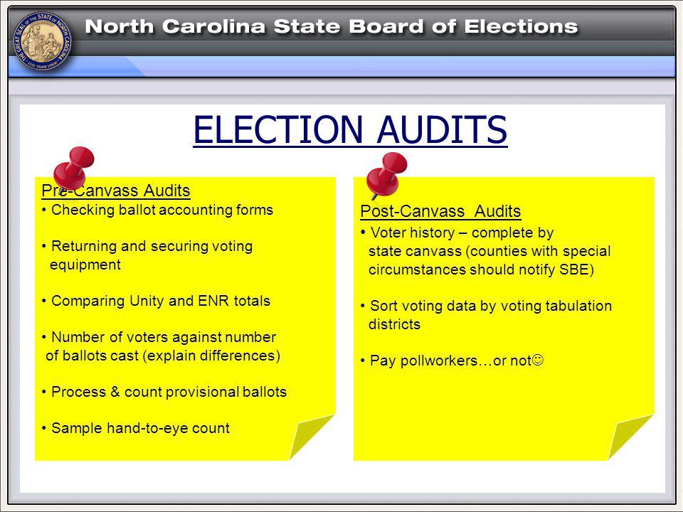 ELECTION AUDITS Post-Canvass Audits Voter history – complete by state canvass (counties with special circumstances should notify SBE) Sort voting data by voting tabulation districts Pay pollworkers…or not Pre-Canvass Audits Checking ballot accounting forms Returning and securing voting equipment Comparing Unity and ENR totals Number of voters against number of ballots cast (explain differences) Process & count provisional ballots Sample hand-to-eye count