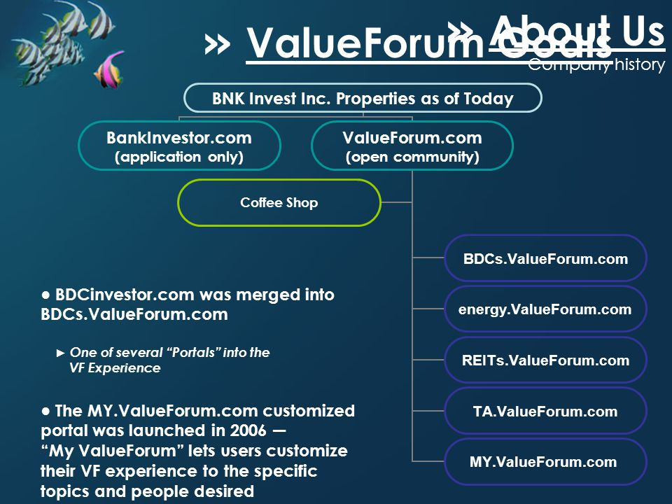 BDCinvestor.com was merged into BDCs.ValueForum.com One of several Portals into the VF Experience BNK Invest Inc. Properties as of Today BankInvestor.