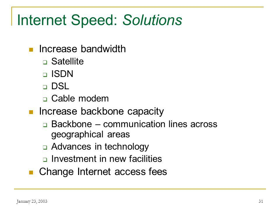 January 23, 200330 Internet Speed: Impacts Business Large companies use T1 and T3 lines and have servers capable of thousands of concurrent visitors Smaller business connect via ISP or pay a company with high-speed connections to host their site