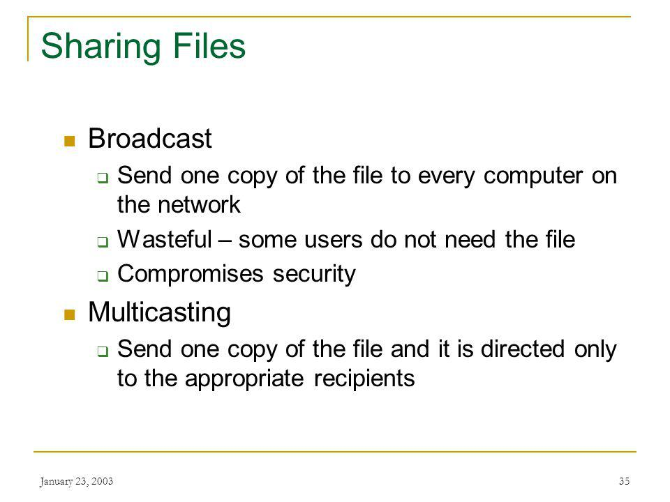 January 23, 200334 Sharing Files Unicasting Send multiple computers copies of files individually Wastes bandwidth as you are sending the same file over and over