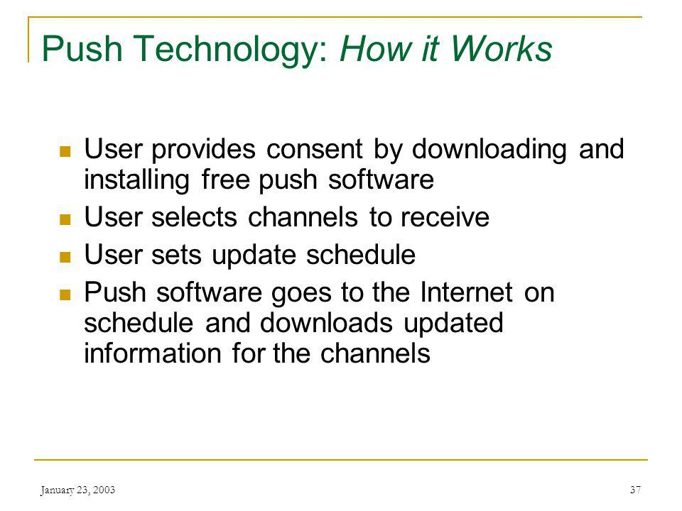 January 23, Push Technology: Webcasting Software that sends (pushes) information from the Internet to a users PC Makes business active participants in providing information to users
