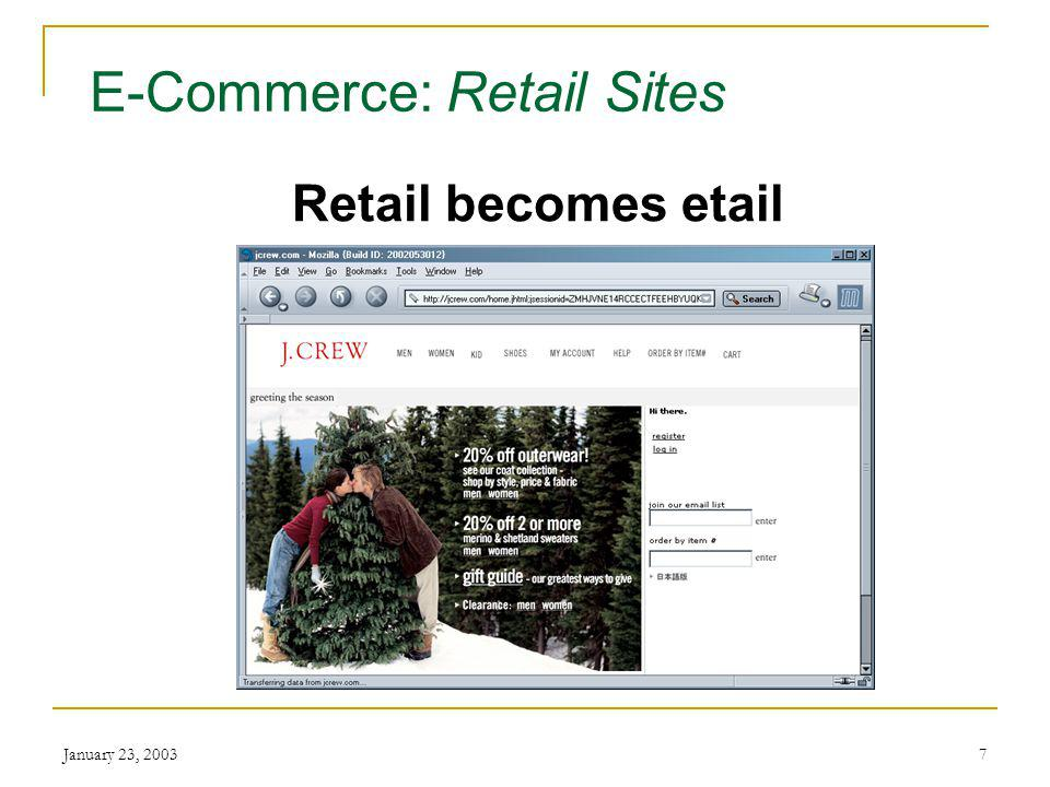 January 23, E-Commerce Electronic Commerce Buying and selling over the Internet