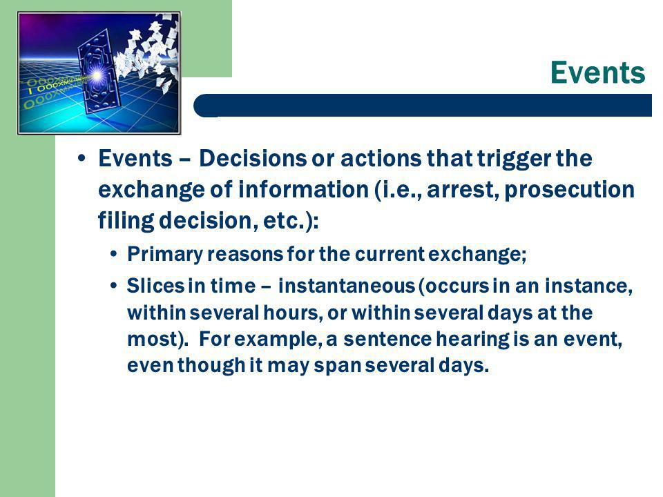 Events Events – Decisions or actions that trigger the exchange of information (i.e., arrest, prosecution filing decision, etc.): Primary reasons for the current exchange; Slices in time – instantaneous (occurs in an instance, within several hours, or within several days at the most).