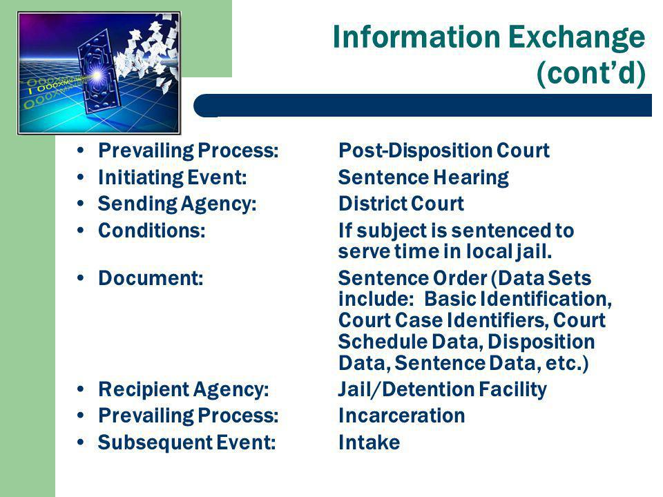 Information Exchange (contd) Prevailing Process:Post-Disposition Court Initiating Event: Sentence Hearing Sending Agency:District Court Conditions:If subject is sentenced to serve time in local jail.