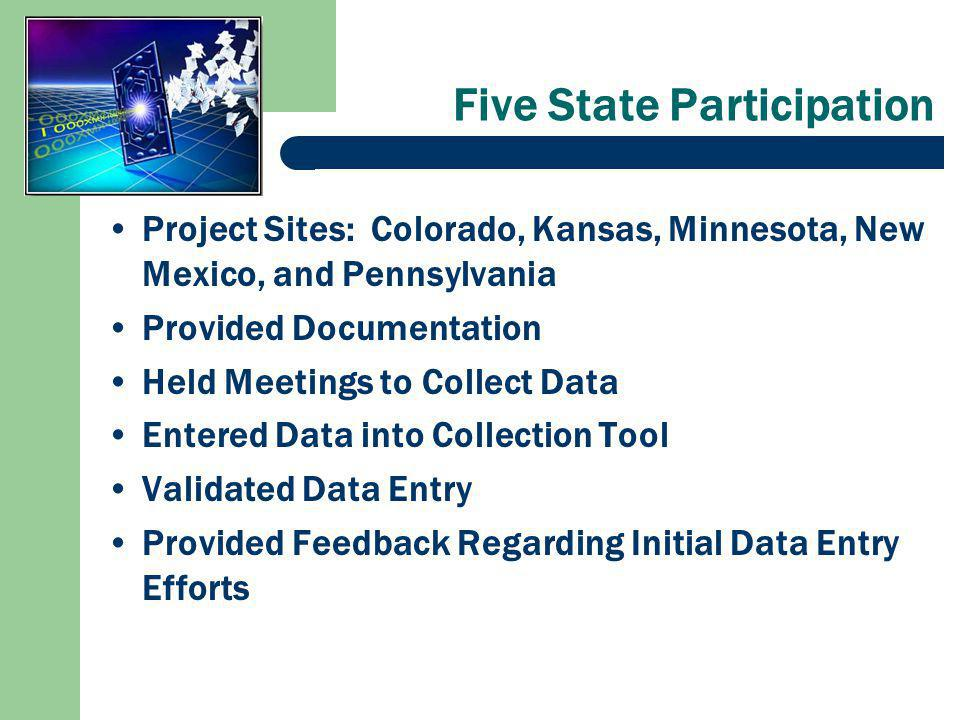 Five State Participation Project Sites: Colorado, Kansas, Minnesota, New Mexico, and Pennsylvania Provided Documentation Held Meetings to Collect Data Entered Data into Collection Tool Validated Data Entry Provided Feedback Regarding Initial Data Entry Efforts