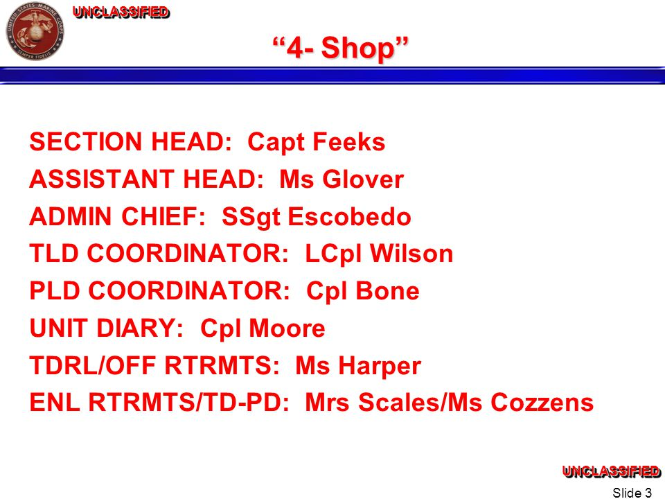 UNCLASSIFIEDUNCLASSIFIEDUNCLASSIFIEDUNCLASSIFIED Slide 3 4- Shop SECTION HEAD: Capt Feeks ASSISTANT HEAD: Ms Glover ADMIN CHIEF: SSgt Escobedo TLD COORDINATOR: LCpl Wilson PLD COORDINATOR: Cpl Bone UNIT DIARY: Cpl Moore TDRL/OFF RTRMTS: Ms Harper ENL RTRMTS/TD-PD: Mrs Scales/Ms Cozzens