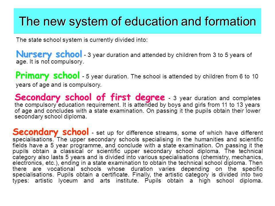 The state school system is currently divided into: Nursery school Nursery school - 3 year duration and attended by children from 3 to 5 years of age.