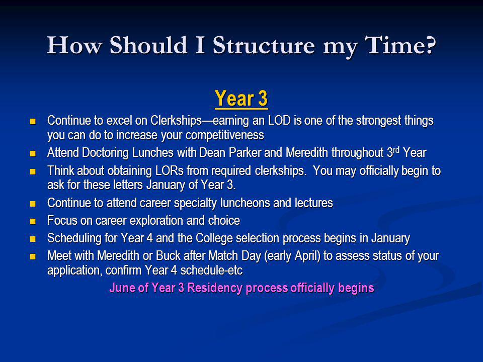 How Should I Structure my Time? Year 3 Continue to excel on Clerkshipsearning an LOD is one of the strongest things you can do to increase your compet
