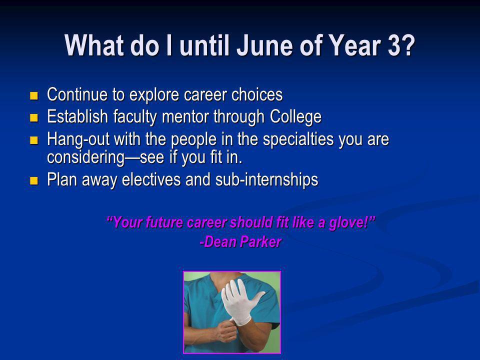 What do I until June of Year 3? Continue to explore career choices Continue to explore career choices Establish faculty mentor through College Establi