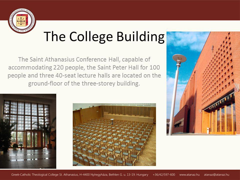 The Saint Athanasius Conference Hall, capable of accommodating 220 people, the Saint Peter Hall for 100 people and three 40-seat lecture halls are located on the ground-floor of the three-storey building.