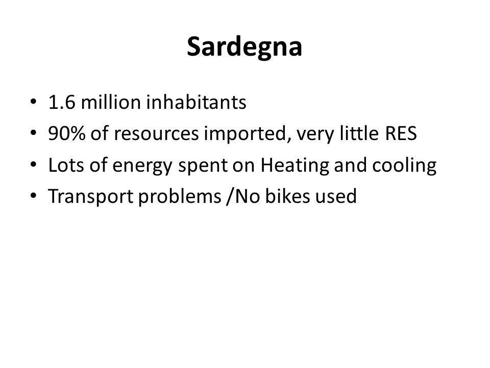 Sardegna 1.6 million inhabitants 90% of resources imported, very little RES Lots of energy spent on Heating and cooling Transport problems /No bikes u