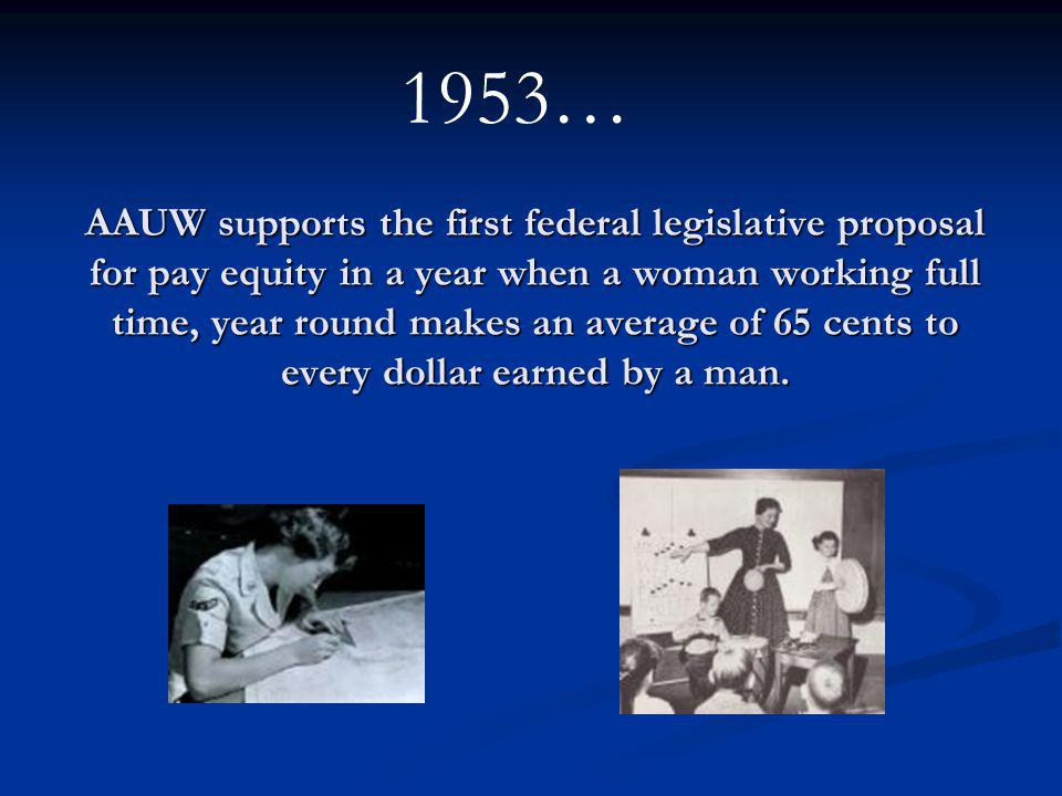 AAUW supports the first federal legislative proposal for pay equity in a year when a woman working full time, year round makes an average of 65 cents to every dollar earned by a man.