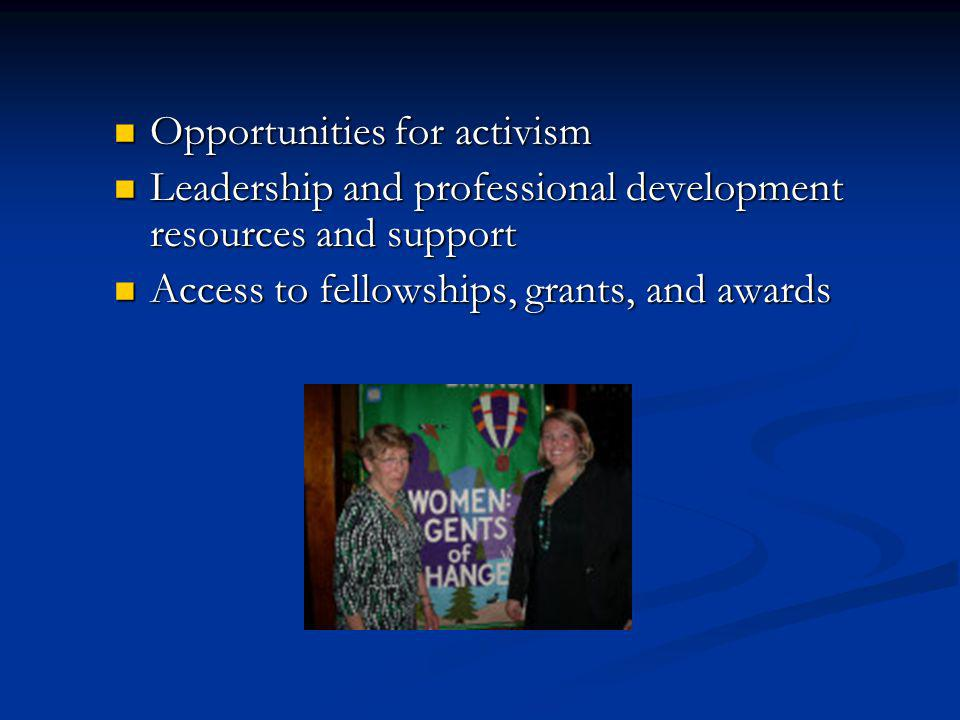 Opportunities for activism Opportunities for activism Leadership and professional development resources and support Leadership and professional development resources and support Access to fellowships, grants, and awards Access to fellowships, grants, and awards