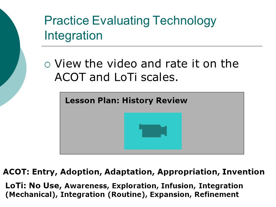Practice Evaluating Technology Integration View the video and rate it on the ACOT and LoTi scales.