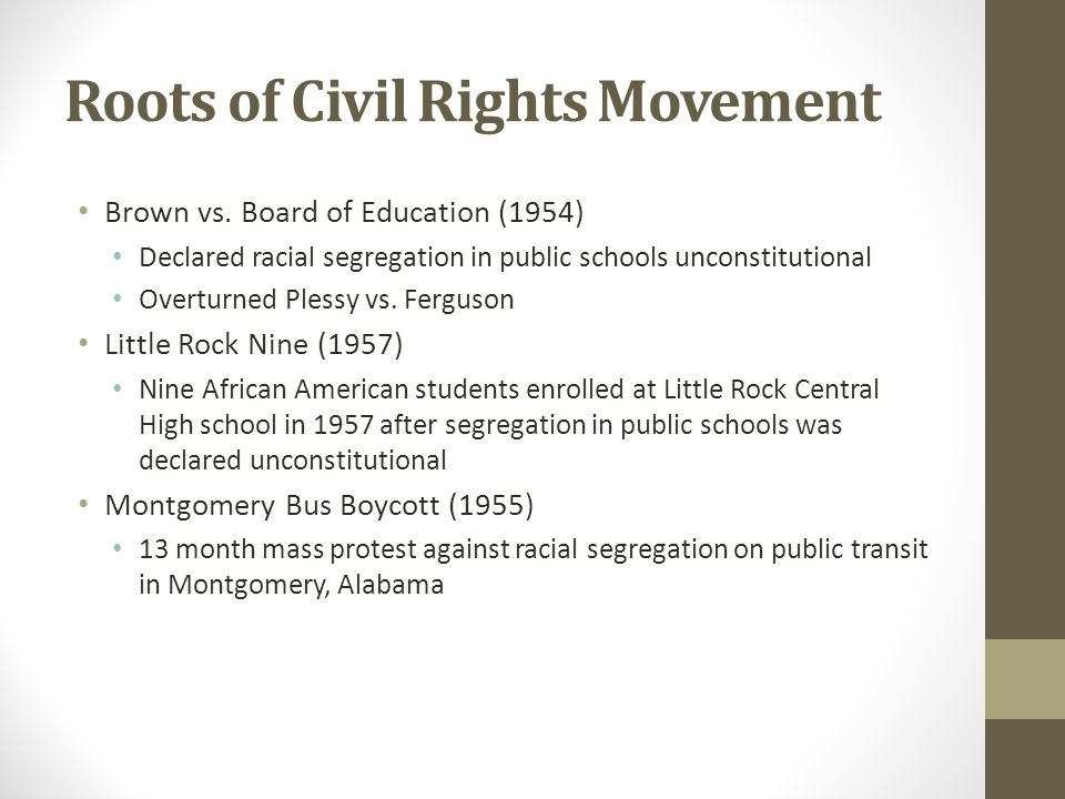 Roots of Civil Rights Movement Brown vs.