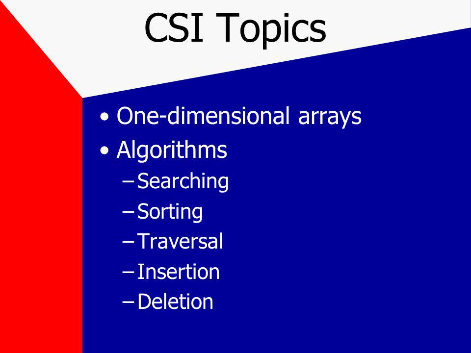 CSII Topics Continuation of CSI topics, plus Stacks, queues, linked lists, binary trees, heaps, maps, sets Hashing Two-dimensional arrays Algorithm analysis and Big-O