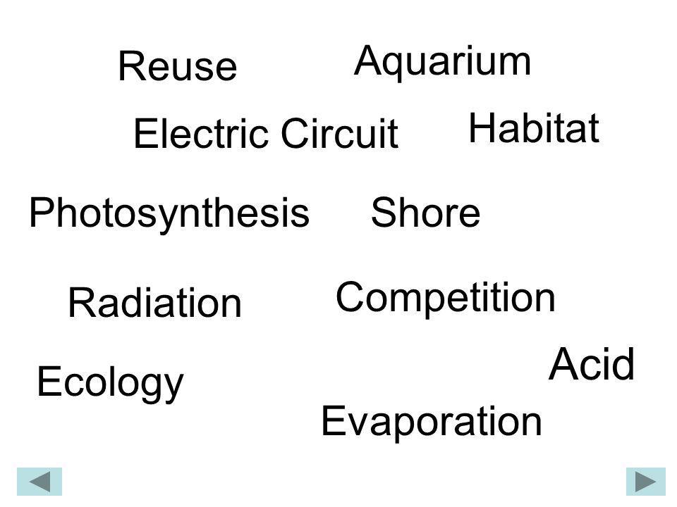 Acid Aquarium Competition Ecology Electric Circuit Evaporation Habitat Photosynthesis Radiation Shore Reuse