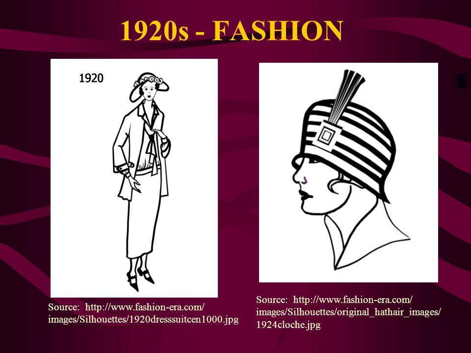 1920s - FASHION Source: http://www.fashion-era.com/ images/Silhouettes/original_hathair_images/ 1924cloche.jpg Source: http://www.fashion-era.com/ images/Silhouettes/1920dresssuitcen1000.jpg