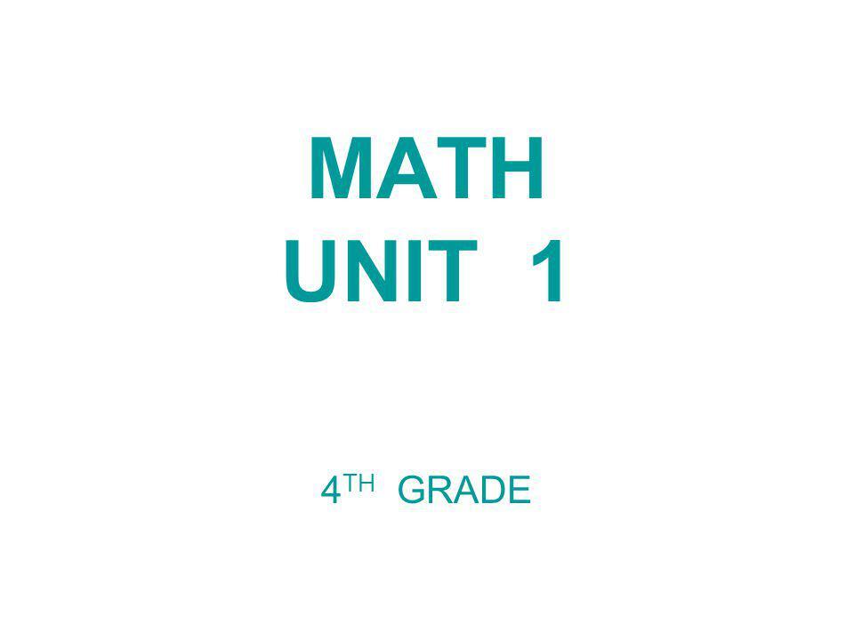 MATH UNIT 1 4 TH GRADE