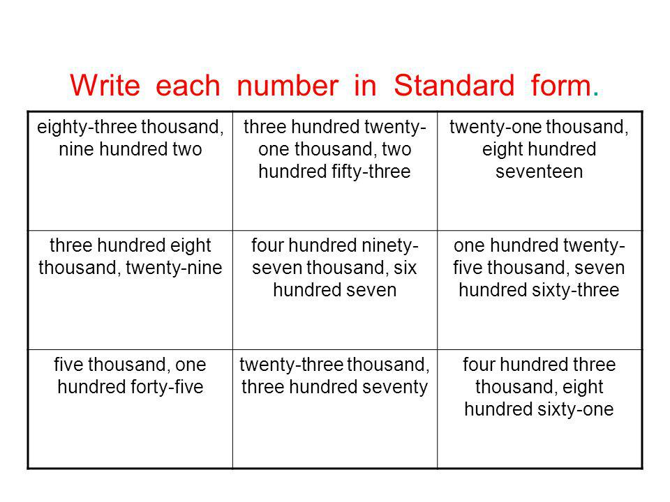Write each number in Standard form.