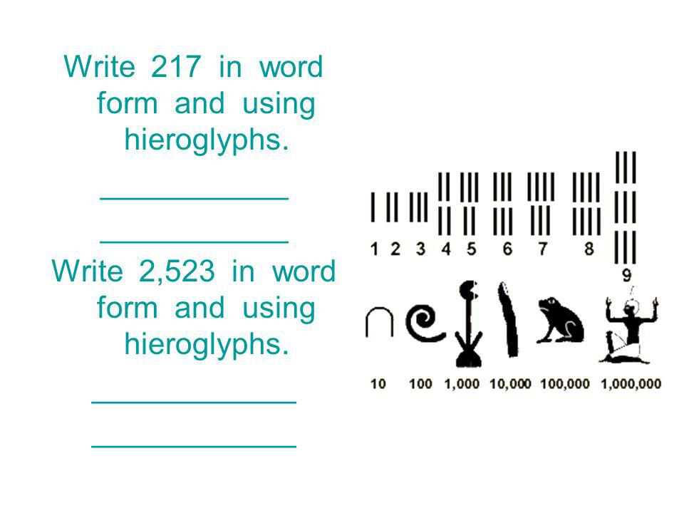 Write 217 in word form and using hieroglyphs.