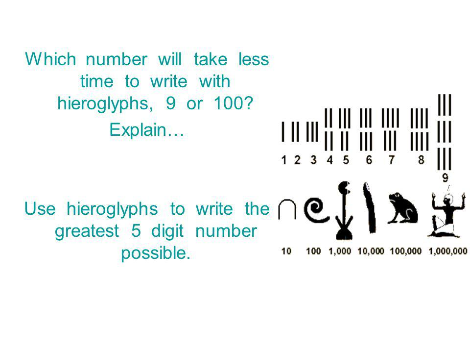 Which number will take less time to write with hieroglyphs, 9 or 100.