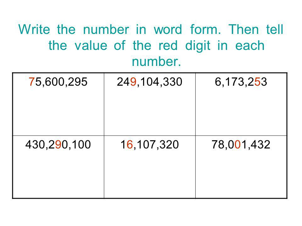 Write the number in word form.Then tell the value of the red digit in each number.