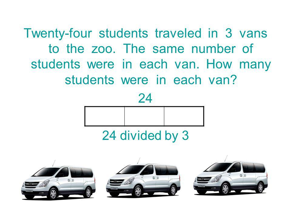 Twenty-four students traveled in 3 vans to the zoo.