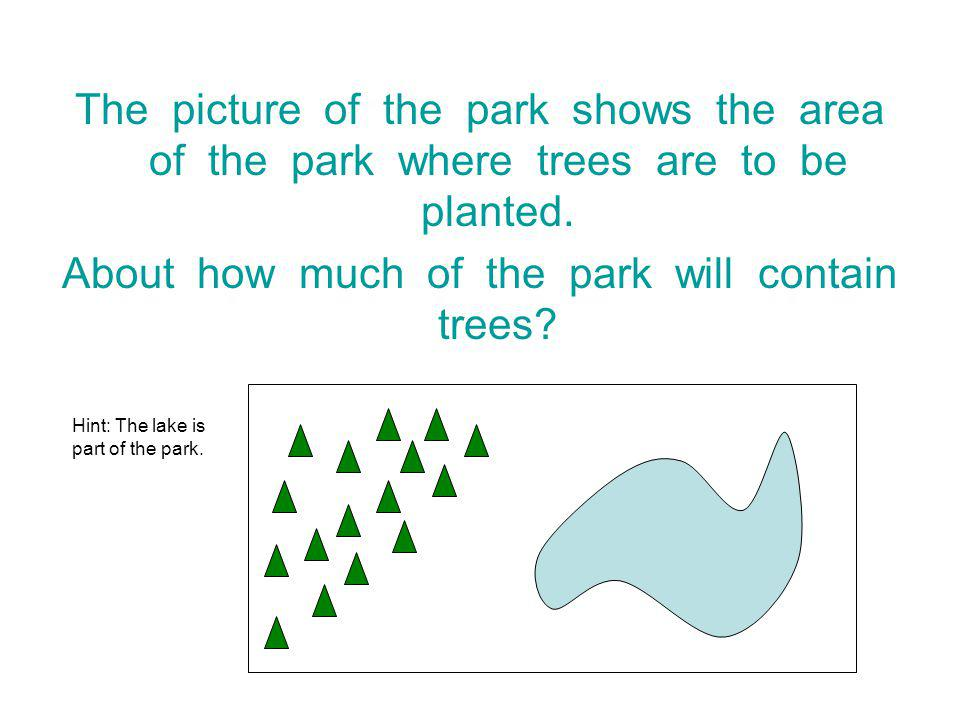 The picture of the park shows the area of the park where trees are to be planted.