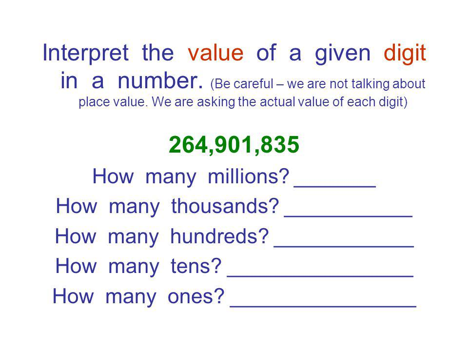 Interpret the value of a given digit in a number.