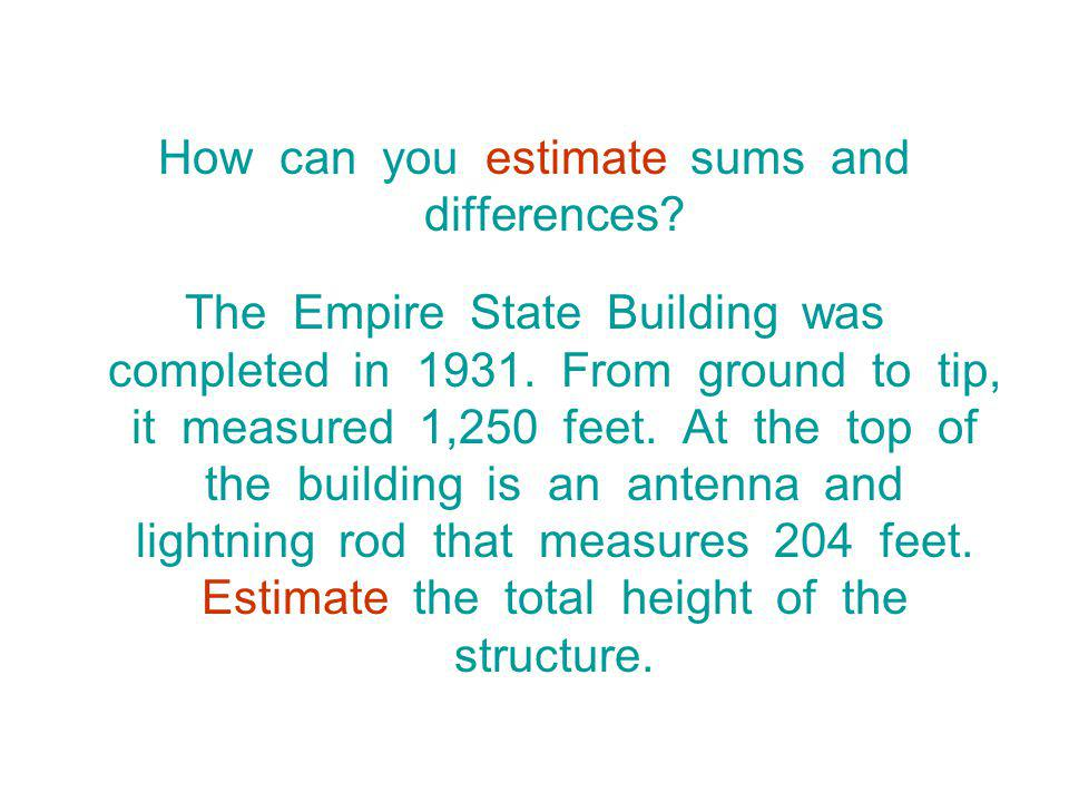 How can you estimate sums and differences.The Empire State Building was completed in 1931.