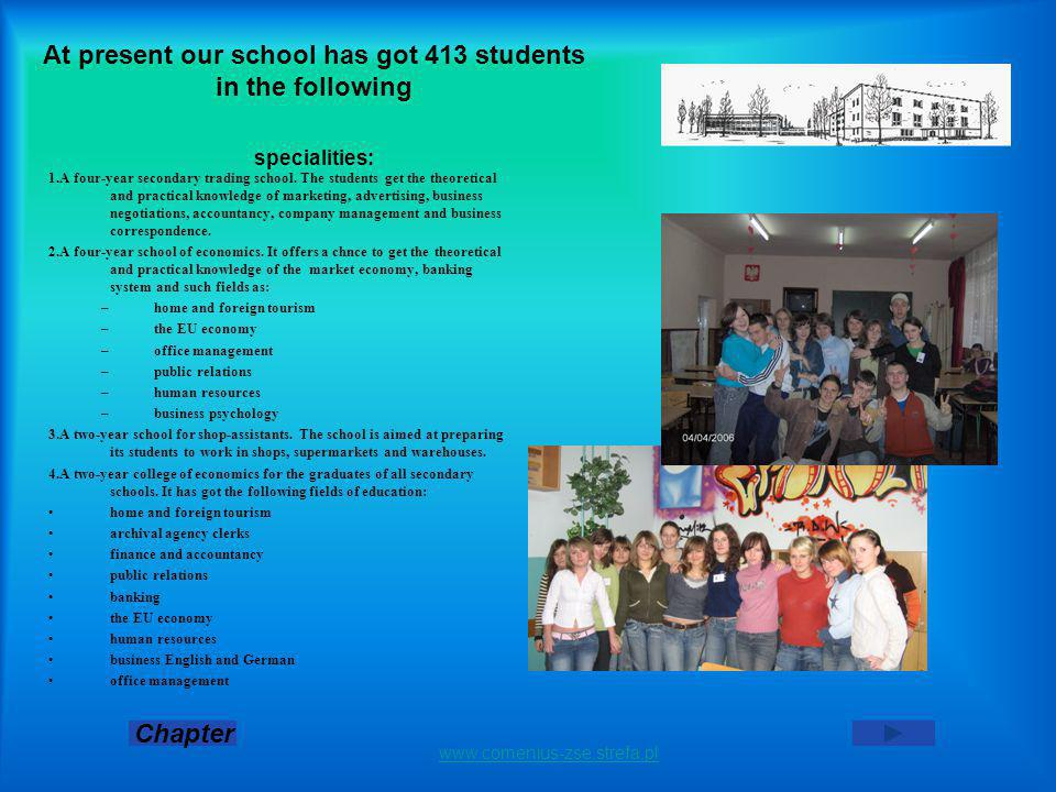 At present our school has got 413 students in the following specialities: 1.A four-year secondary trading school.