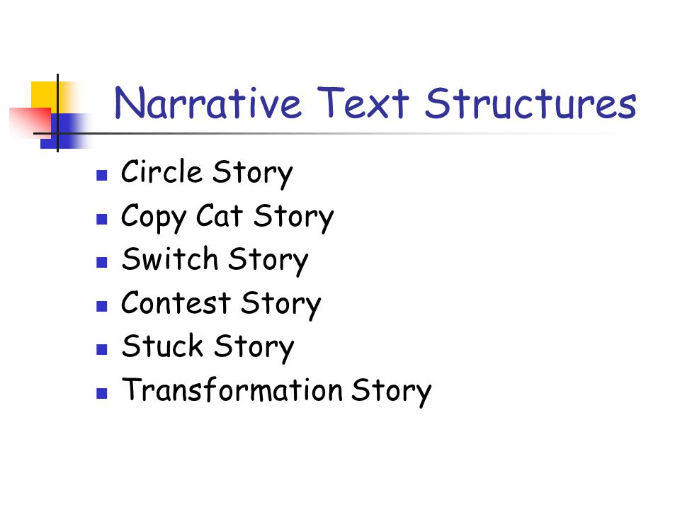 Narrative Text Structures Circle Story Copy Cat Story Switch Story Contest Story Stuck Story Transformation Story