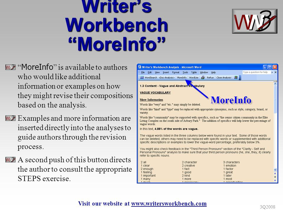 3Q2008 Writers Workbench MoreInfo MoreInfo is available to authors who would like additional information or examples on how they might revise their compositions based on the analysis.