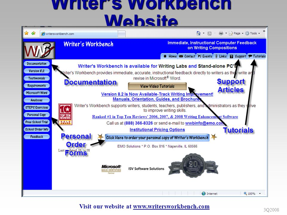 3Q2008 Writers Workbench Website Visit our website at www.writersworkbench.com