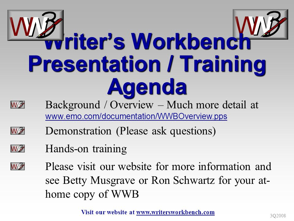 3Q2008 Writers Workbench Analysis Sets The writer clicks the Analysis Programs button to get this menu.