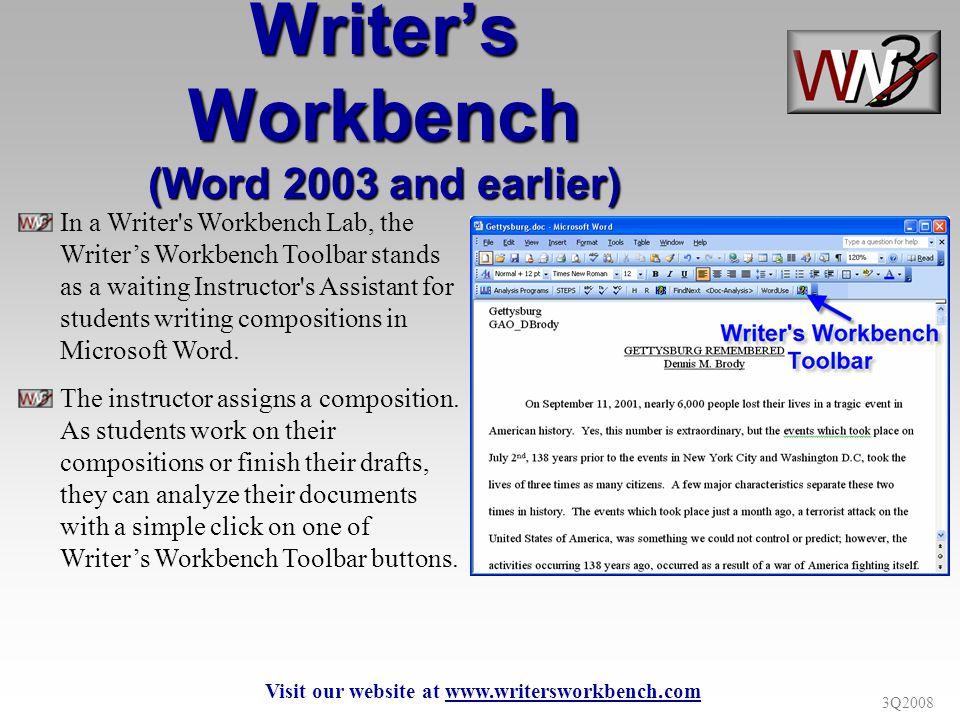 3Q2008 WWB On-Line Documentation Visit our website at www.writersworkbench.com