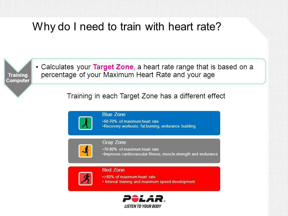 Calculates your Target Zone, a heart rate range that is based on a percentage of your Maximum Heart Rate and your age Training in each Target Zone has a different effect Training Computer Blue Zone 60-70% of maximum heart rate Recovery workouts, fat burning, endurance building Gray Zone 70-80% of maximum heart rate Improves cardiovascular fitness, muscle strength and endurance Red Zone >80% of maximum heart rate Interval training and maximum speed development Why do I need to train with heart rate