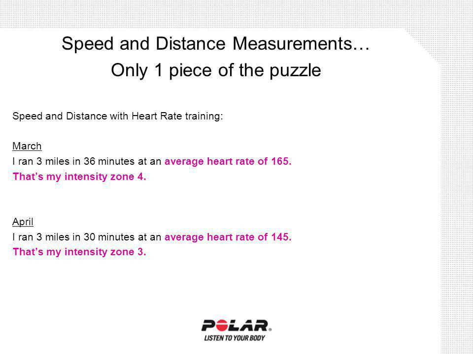 Speed and Distance with Heart Rate training: March I ran 3 miles in 36 minutes at an average heart rate of 165. Thats my intensity zone 4. April I ran