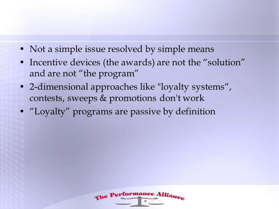 Not a simple issue resolved by simple means Incentive devices (the awards) are not the solution and are not the program 2-dimensional approaches like loyalty systems, contests, sweeps & promotions don t work Loyalty programs are passive by definition