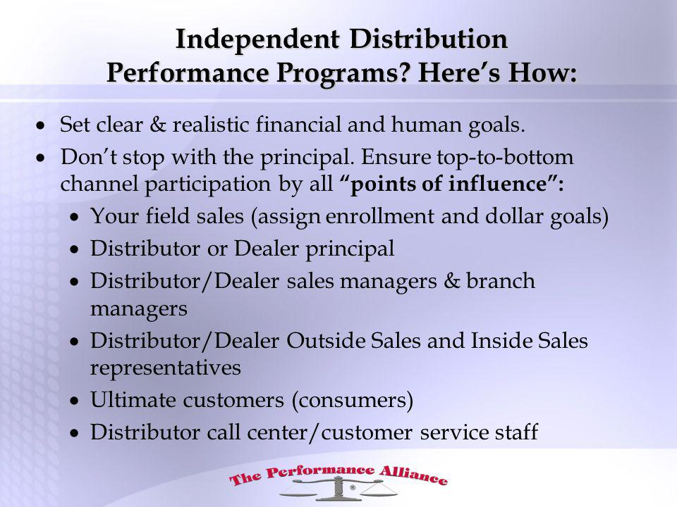 Independent Distribution Performance Programs.