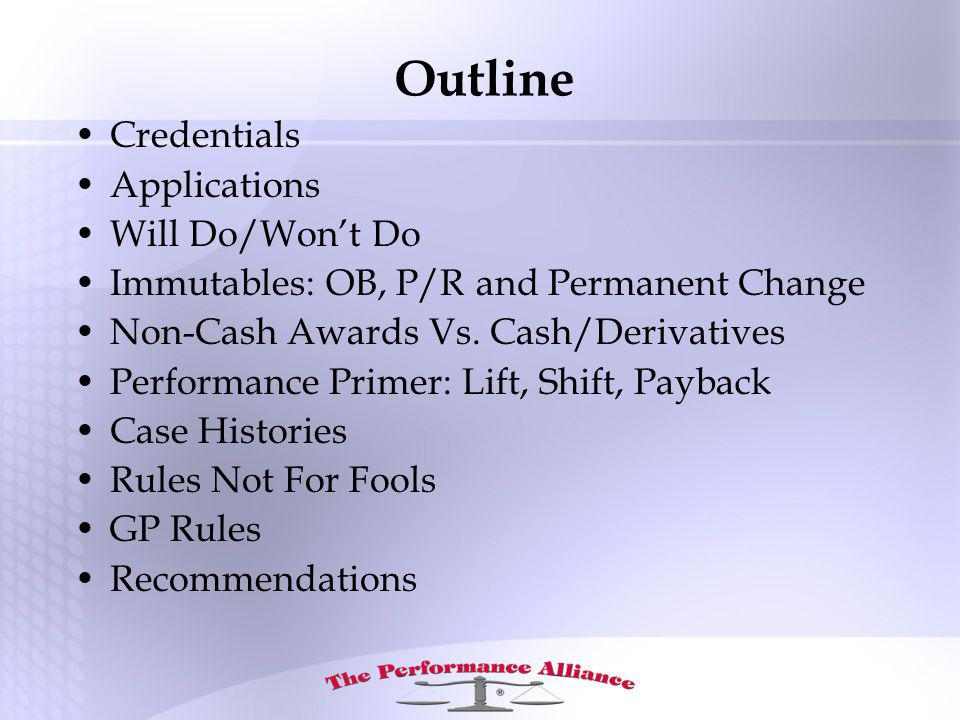 Outline Credentials Applications Will Do/Wont Do Immutables: OB, P/R and Permanent Change Non-Cash Awards Vs.
