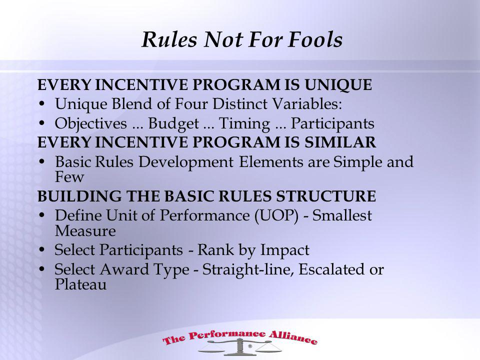 EVERY INCENTIVE PROGRAM IS UNIQUE Unique Blend of Four Distinct Variables: Objectives...