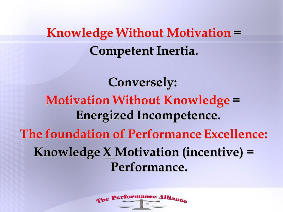 Knowledge Without Motivation = Competent Inertia.