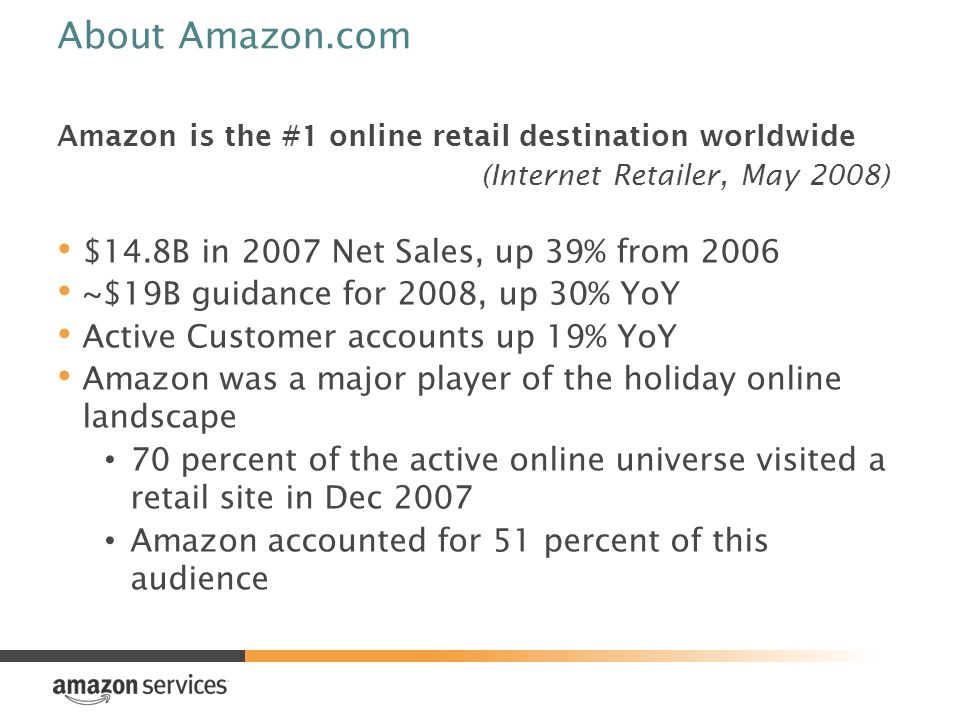 About Amazon.com Amazon is the #1 online retail destination worldwide (Internet Retailer, May 2008) $14.8B in 2007 Net Sales, up 39% from 2006 ~$19B guidance for 2008, up 30% YoY Active Customer accounts up 19% YoY Amazon was a major player of the holiday online landscape 70 percent of the active online universe visited a retail site in Dec 2007 Amazon accounted for 51 percent of this audience