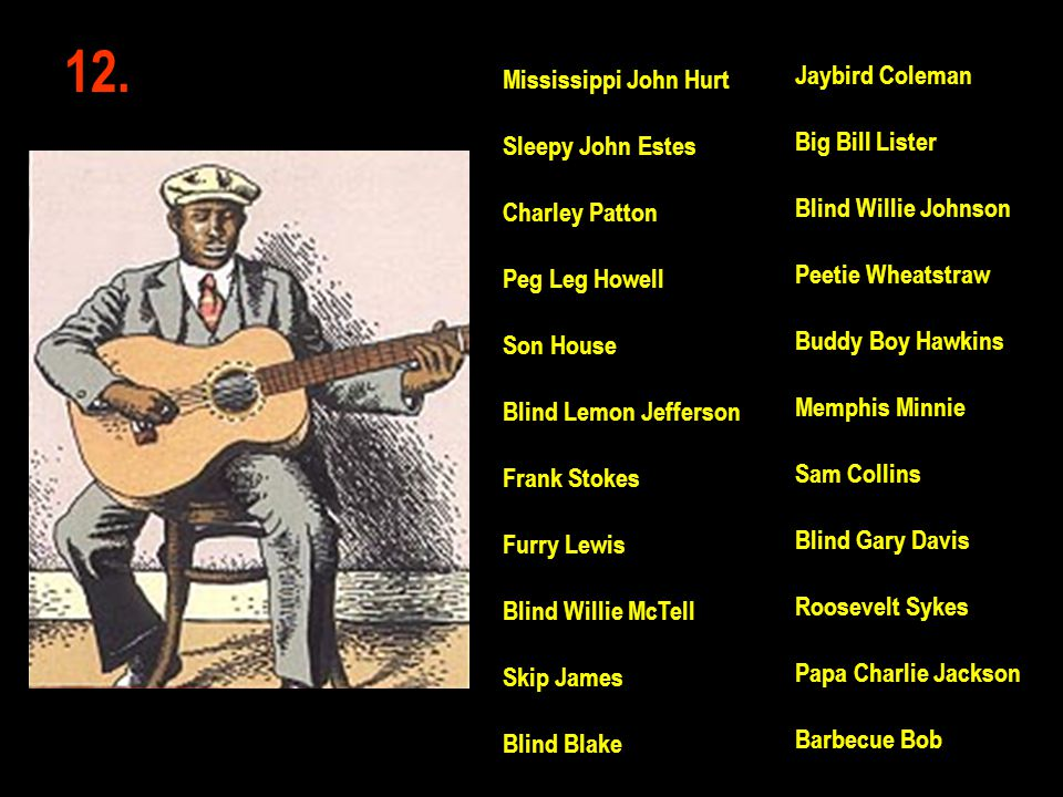 12. Jaybird Coleman Big Bill Lister Blind Willie Johnson Peetie Wheatstraw Buddy Boy Hawkins Memphis Minnie Sam Collins Blind Gary Davis Roosevelt Syk